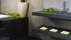 beton cire pour sol murs et meubles idee deco et tuto With peinture effet beton sur bois