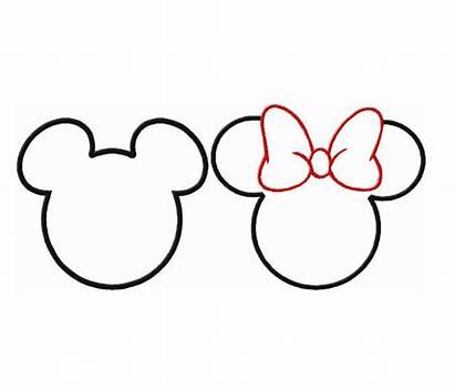 Minnie Mouse Mickey Head Ears Outline Silhouette