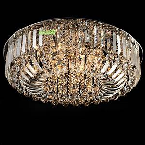 Modern luxury led crystal round pendant light ceiling lamp
