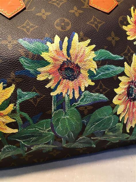 louis vuitton vintage monogram hand painted yellow sunflower speedy  handbag  sale  stdibs