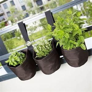 Pot Pour Balcon : pots de fleurs en tissu pour plantes aromatiques ~ Teatrodelosmanantiales.com Idées de Décoration