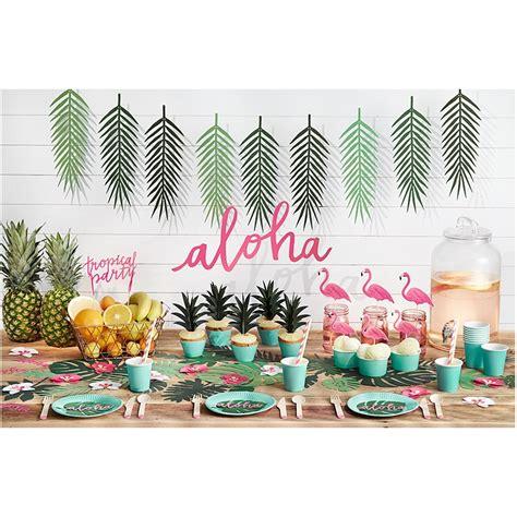 decoration de feuille de papier d 233 coration feuilles foug 232 res vertes flamant tropiques
