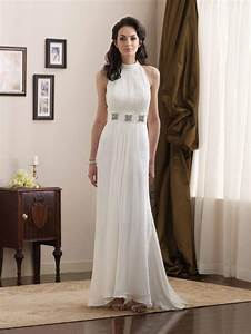 Simple high halter jeweled broach chiffon informal wedding for Simple informal wedding dresses