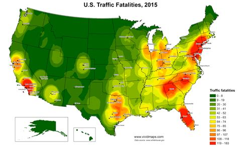 united states traffic fatalities heat map 2015 maps