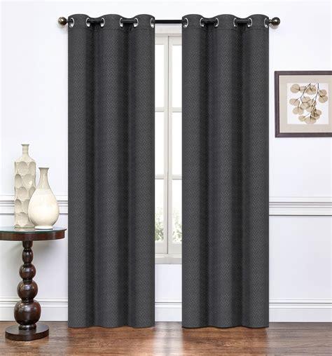 pair of suzette black window curtain panels w grommets