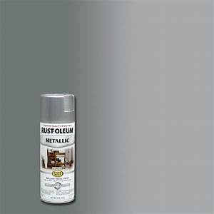 Rust oleum stops rust 11 oz silver protective enamel for Home depot metallic furniture paint