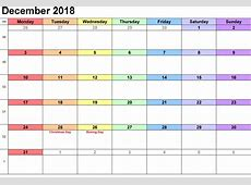 Download Free December 2018 Calendar Template September
