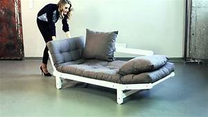 canape convertible en bois avec matelas futon beat youtube With canapé futon convertible