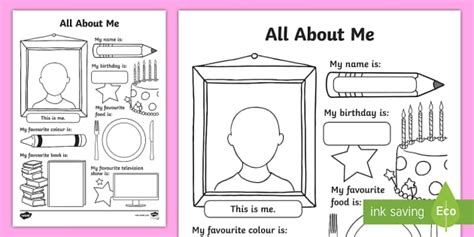 All About Me Activity Sheet  All About Me Activity Sheet Back