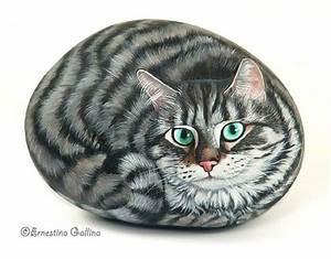 Chat peint sur un galet | CHATS | Pinterest | Acryliques ...