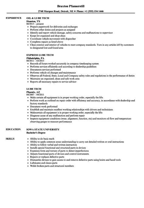Tech Resume by Lube Tech Resume Sles Velvet