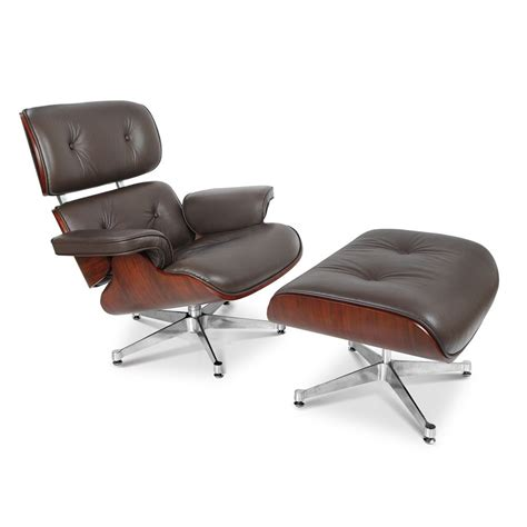 Vitra Lounge Chair Replica by Charles Eames Lounge Chair Replica Brown Leather Plywood