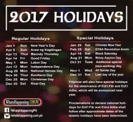 Philippines Regular Holiday 2017