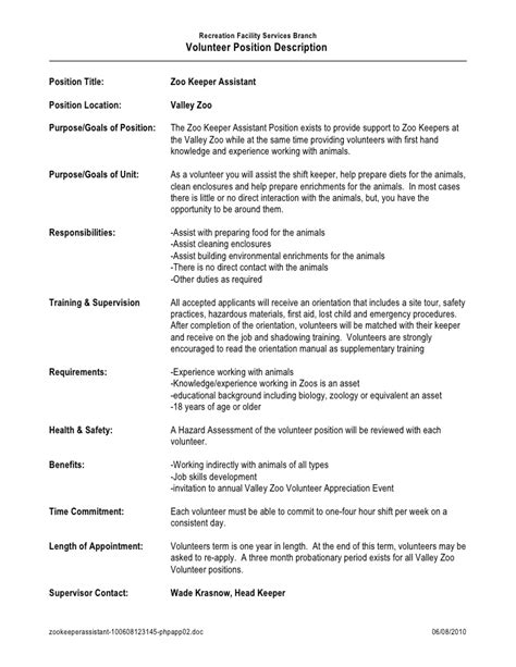Description Of Volunteer Experience On Resume by Zoo Keeper Assistant