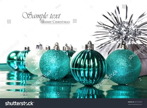 turquoise blue christmas decorations stars  stock photo