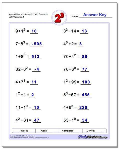 Mixed Addition And Subtraction With Exponents