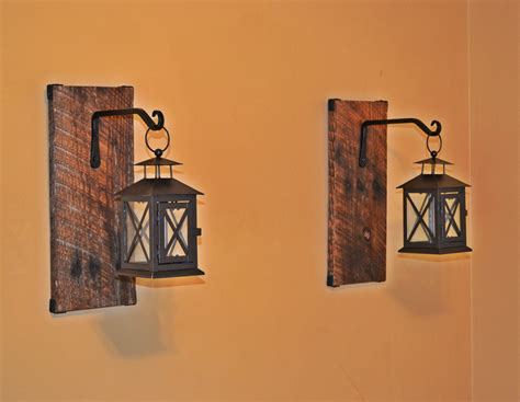 reclaimed wood hanging candle lantern pair by