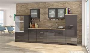 Küchenzeile 360 Cm : k chenzeile m nchen vario 4 k chen leerblock breite 360 cm hochglanz grau graphit ~ Indierocktalk.com Haus und Dekorationen