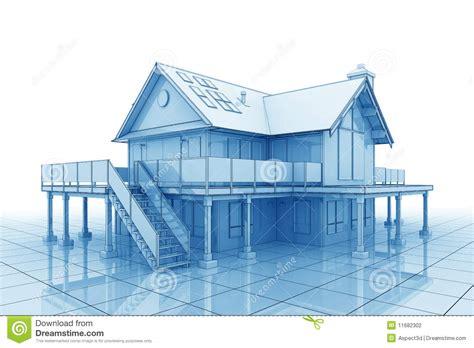 3d Blueprint House Stock Illustration. Image Of Built