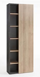 Bibliothèque Avec Porte : bibliotheque avec porte core chene gris l 80 x h 218 x p 35 ~ Teatrodelosmanantiales.com Idées de Décoration