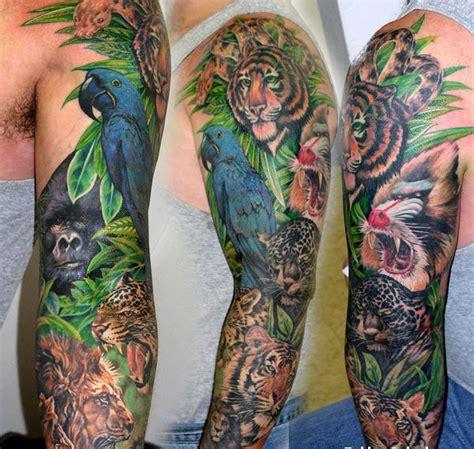 Jungle Animals Full Arm Tattoo Tattoomagz