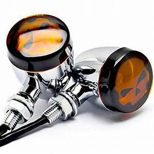 Taswk Pair Of Skull Turn Signal Lights Motorcycle Chrome Indicator For Harley Dyna Sportster