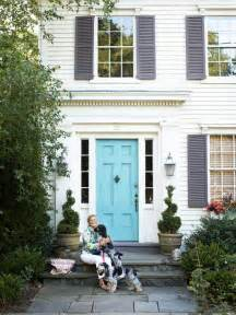 Blue Front Door with Gray Shutters