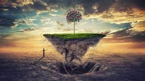 Wallpaper Tree, Earth, Floating, Prayer, 4K, Creative