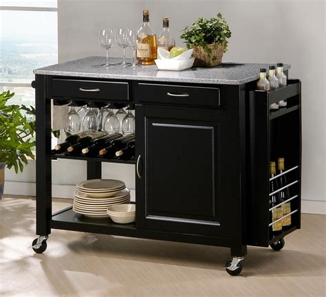 black granite top kitchen island modern black kitchen island cart cabinet wine bottle glass