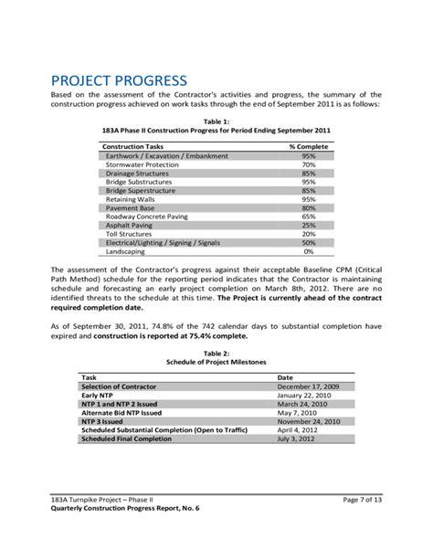 quarterly construction progress report