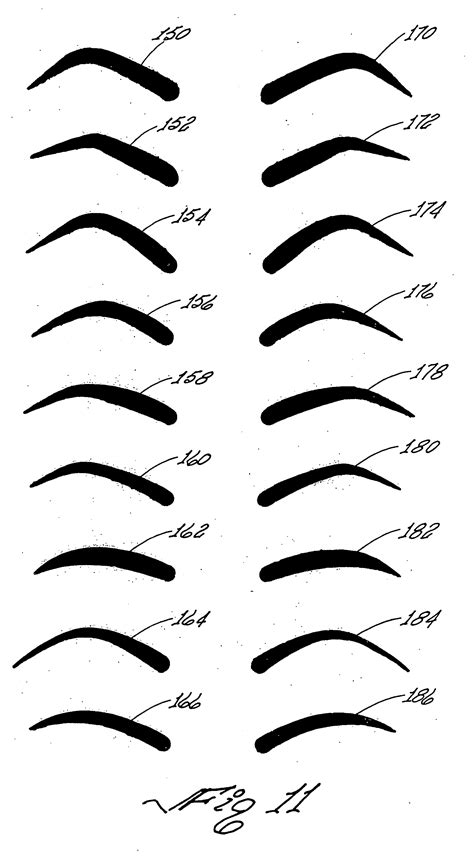 Eyebrow stencils makeup shaping stencils eyebrow drawing. Patent US20060150844 - Imprinting device for a cosmetic ...
