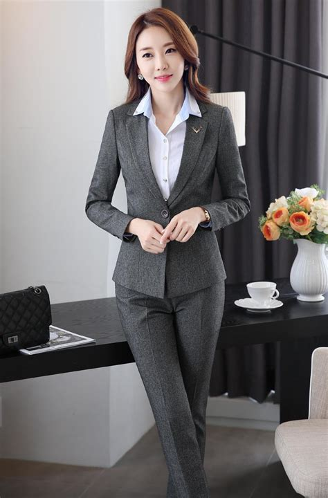 Work Wear Black Gray Pant Suits For Women New Ol Formal Slim Long Sleeve Blazer With Pants