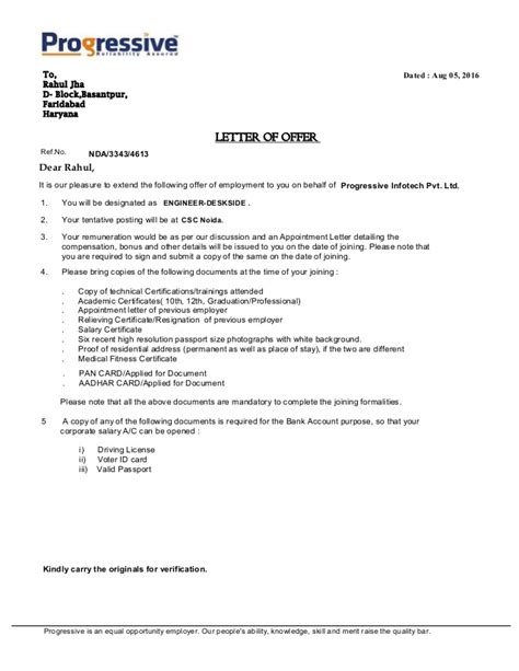 Offer Letter Of Intent Sle by Letter Of Offer Rahul Jha