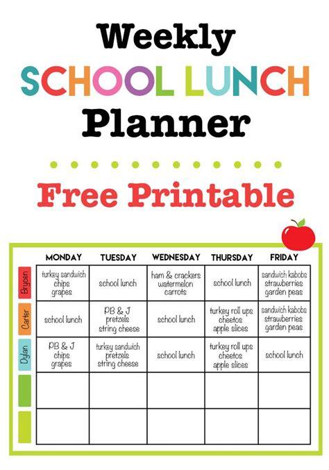 weekly school lunch printable school lunch menu kids