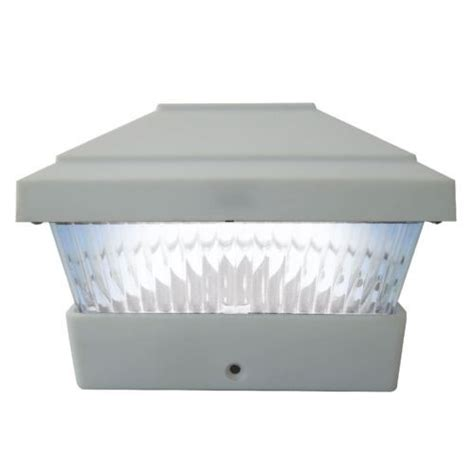 white solar powered led outdoor garden post deck cap