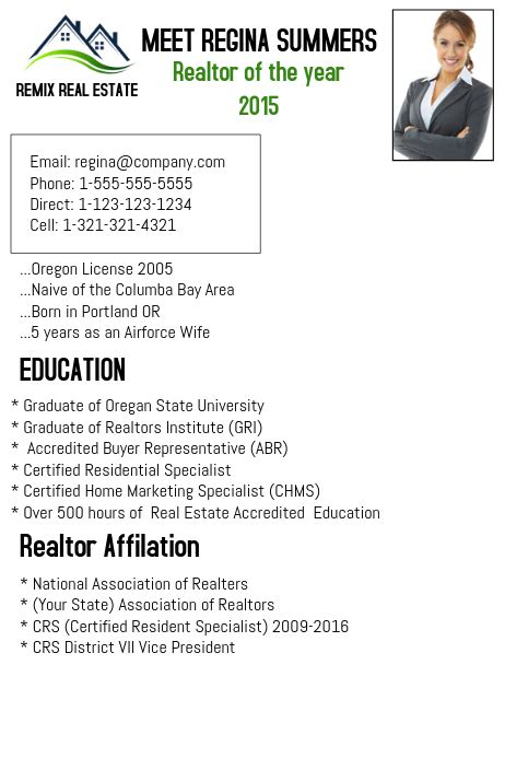 Realtor Resume Sle by Realtor Resume Template Postermywall