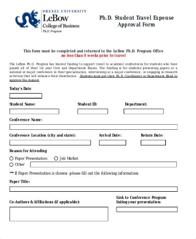 sample travel approval forms