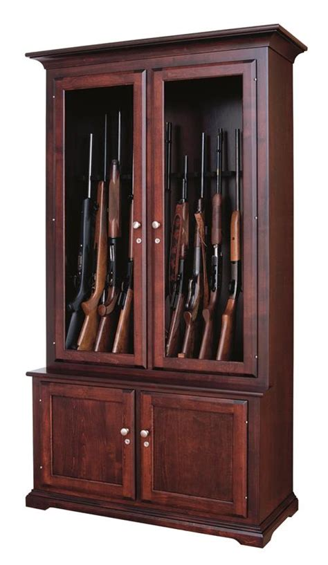 wooden gun cabinet amish handcrafted 12 gun cabinet from dutchcrafters