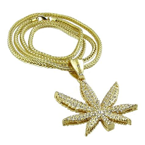 """Weed Leaf Gold Finish 36"""" Chain  Chains. Compass Necklace. Paper Mache Beads. Purple Heart Necklace. Bangle Bracelet. Pink Lockets. Station Necklace. Mens Emerald. 18k Gold Engagement Rings"""