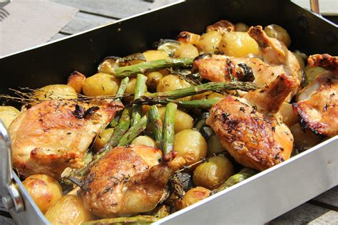 cuisines et vins de recettes cuisine poulet roti au vin blanc pommes de terre asperges