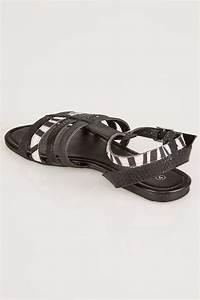 Sandales Style Gladiator - Noir & Imprimés Zèbre Pieds ...