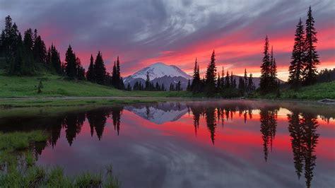 pink sunset reflection tipsoo lake mount rainier