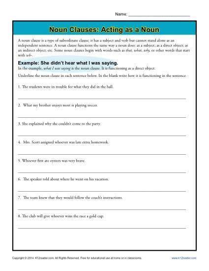 noun clauses acting as a noun sentences