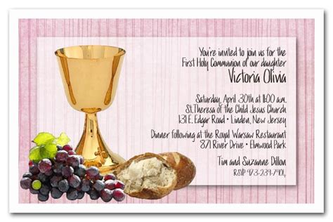 chalice bread grapes girls  communion invitations