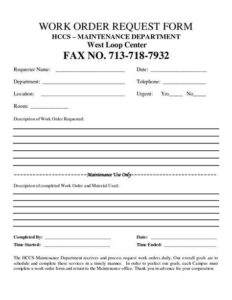 customer work order request work order form