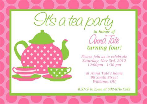 custom printable tea party invitation