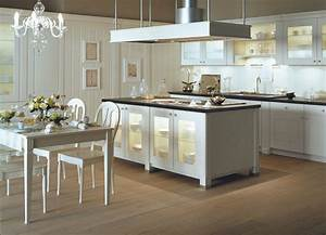white poesie kitchen by veronique mourrain ligne signatures With deco cuisine avec table salle a manger chene
