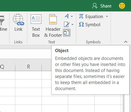 insert an object in your excel spreadsheet excel