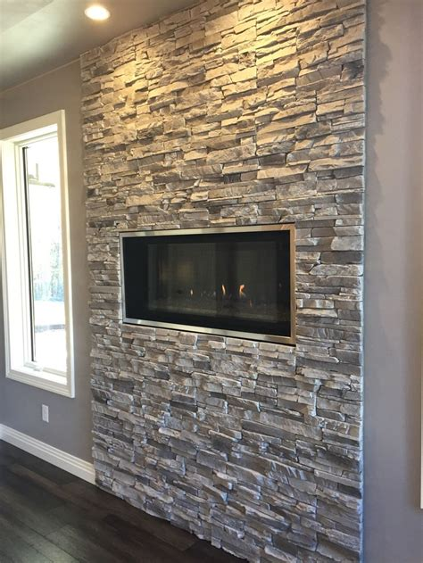 contemporary linear fireplace  silver lining stacked