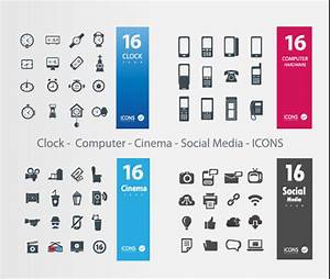 Clock – Computer – Cinema – Social Media icons vector ...